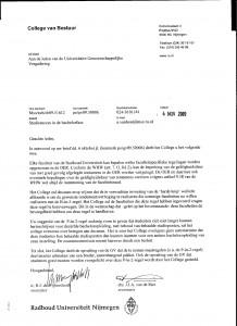 Antwoord van het RU-bestuur op vragen over bsa en studierendementen